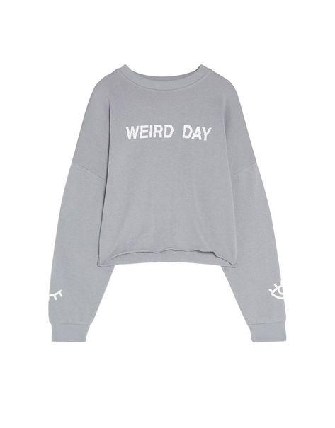 Sudadera Cropped Con Texto Sudaderas Ropa Mujer Pull Bear Colombia Sweatshirts Crop Sweatshirt Slogan Sweatshirt