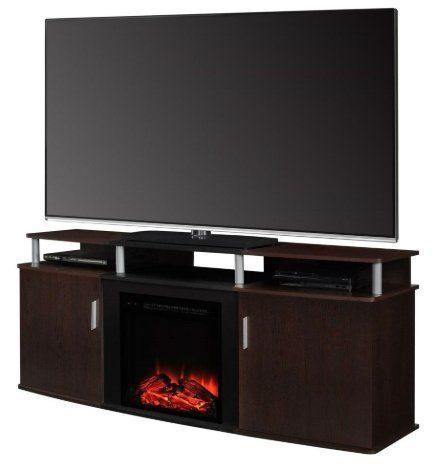 Skb Family Modern Electric Fireplace Tv Stand In Cherry Black Wood
