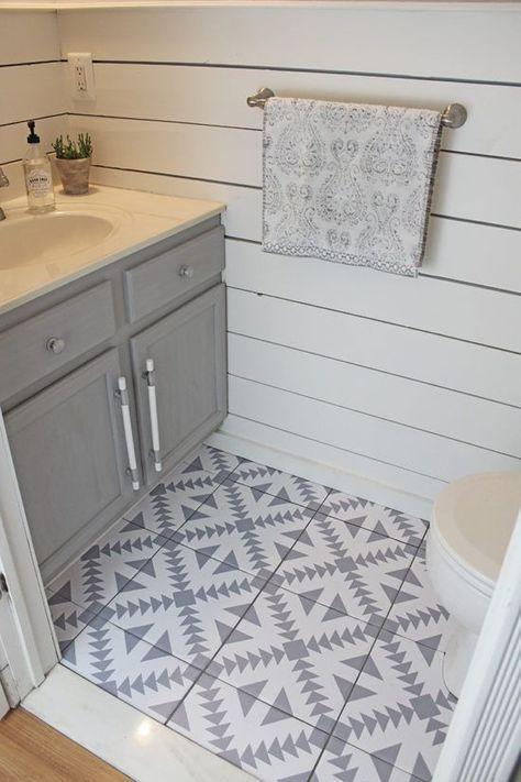 Floor Stickers In The Bathroom Bathroom Renovation Diy Budget