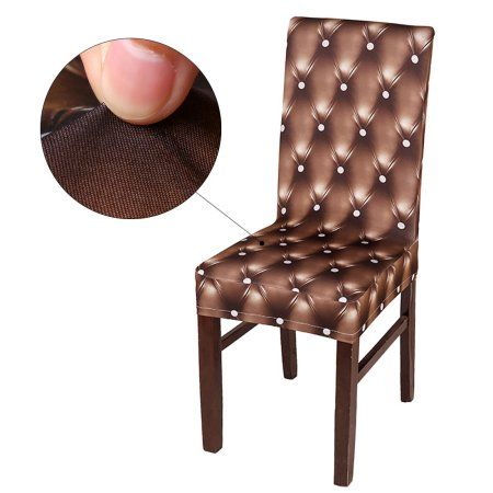 3D Pattern Spandex Stretch Short Chair Seat Covers Dining Chair Slipcovers,  Brown
