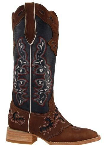 Women/'s New Distressed Leather Cowgirl Western Riding Boots Snip Toe Denim Blue