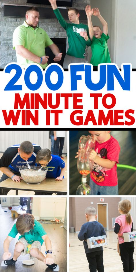 The ultimate list of minute to win it games for kids! Perfect for keeping kids entertained all day long! They're fun, simple to play, inexpensive, and typically hilarious! Family Party Games, Youth Group Games, Fun Party Games, Christmas Party Games, Family Game Night, Indoor Party Games, Night Kids, Games For Parties, One Minute Party Games