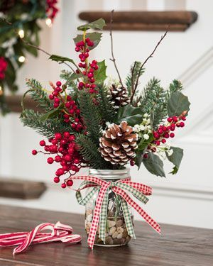 Farmhouse Holly & PineArtificial Holiday Accent