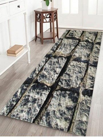 Stone Wall Pattern Water Absorption Area Rug Rustic Area Rugs