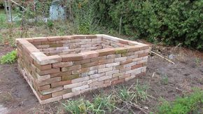 Raised Bed Of Old Bricks Drywall Elevated Garden Bed Made Of Old In 2020 Garden Beds Elevated Garden Beds Brick Garden