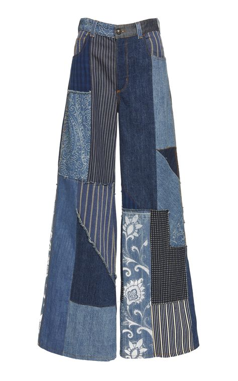 Shop Patchwork-Effect High-Rise Wide-Leg Jeans. Etro's jeans are designed with a flared, wide-leg fit and patchwork detailing construction. Custom Clothes, Diy Clothes, Cool Outfits, Fashion Outfits, Modest Outfits, Skirt Outfits, Summer Outfits, Patchwork Jeans, Hippie Outfits