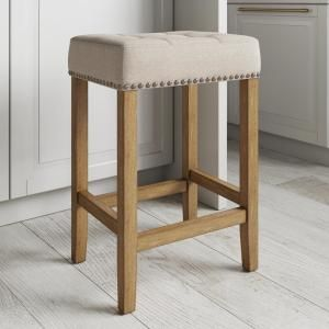 Nathan James Hylie 24 In Dark Gray Pu Leather Nailhead Saddle Cushion White Wood Pub Height Counter Bar Stool 21306 The Home Depot Counter Bar Stools Bar Stools Bar Stools Kitchen Island