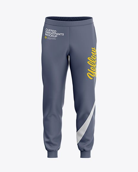 Download Men S Cuffed Sweatpants Mockup Front View In Apparel Mockups On Yellow Images Object Mockups Clothing Mockup Sweatpants Sports Garments