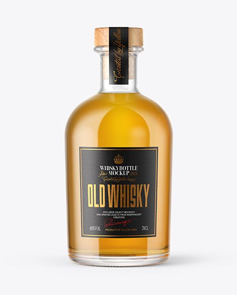 Single Malt Whisky Bottle With Wooden Cap Mockup In Bottle Mockups On Yellow Images Object Mockups Mockup Free Psd Malt Whisky Bottle Mockup