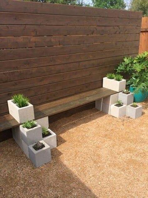 Bancos Com Blocos De Concreto Para Jardim Jardins Ao Ar Livre