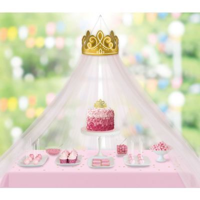 Upgrade your princess's birthday party using this Disney Once Upon a Time Canopy Decoration! Hang the large cardstock crown from the ceiling just above your tablescape and drape the tulle panels across the table to create your canopy. Princess Birthday Party Decorations, Disney Princess Birthday Party, Princess Theme Party, Cinderella Birthday, Birthday Party Themes, 5th Birthday, Princess Aurora Party, Cinderella Party Supplies, Halloween Party Decor