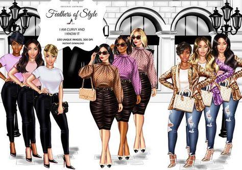 Curvy girls clipart Fashion girls clipart Fashionable women clipart Fashionable girls clipart African American clipart Afro girls clipart
