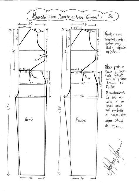 Esquema de modelagem de Macacão com Recorte Lateral