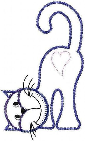 Cat applique free embroidery design 2 - Applique free