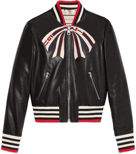 Leather bomber jacket with Gucci bow  2ac227b2540b
