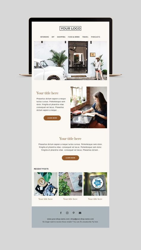 Fitness email template, Mailchimp Newsletter Template, Email template