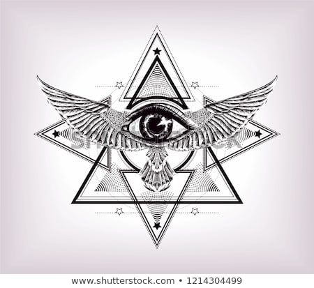 Sacred geometry with egypt symbol. Wings and all seeing eye.Vision of God Providence.