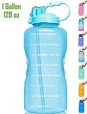 Water Bottle 1 Gallon//128 OZ Motivational BPA Free Leakproof Venture Pal Large