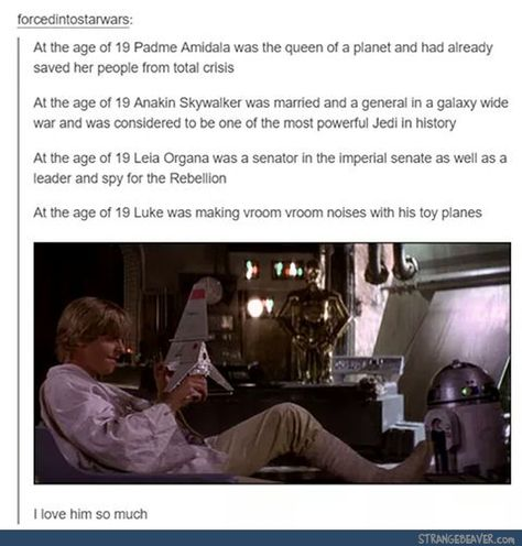 Luke Skywalker gives me hope for the future though.