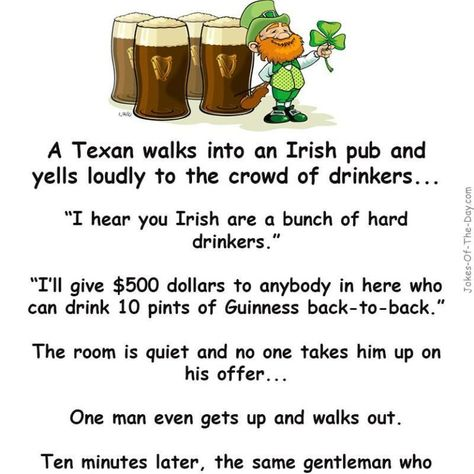 A Texan walks into an Irish Pub - drinking joke, Funny Joke, irish joke, Texan