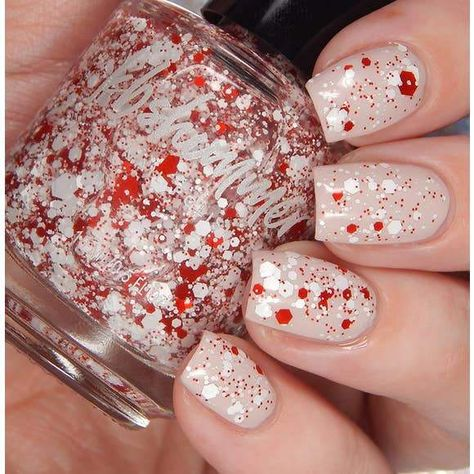 This top coat is loaded with red and white hex glitters in many different sizes. Layer over pink for a romantic Valentine's Day manicure, or over blue for a rocking mani for the 4th. This polish is scented with peppermint for a classic sweet mint scent. This polish will not replace your perfume, but will leave a soft, subtle scent even when dry.