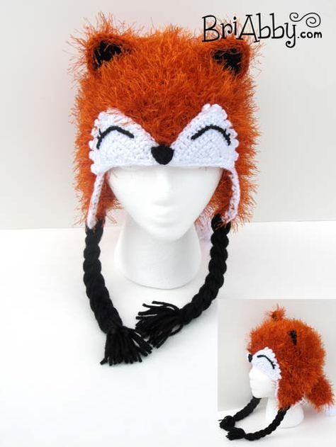 Furry Crochet Fox Hat with Earflaps and Tail on Etsy, $40.00