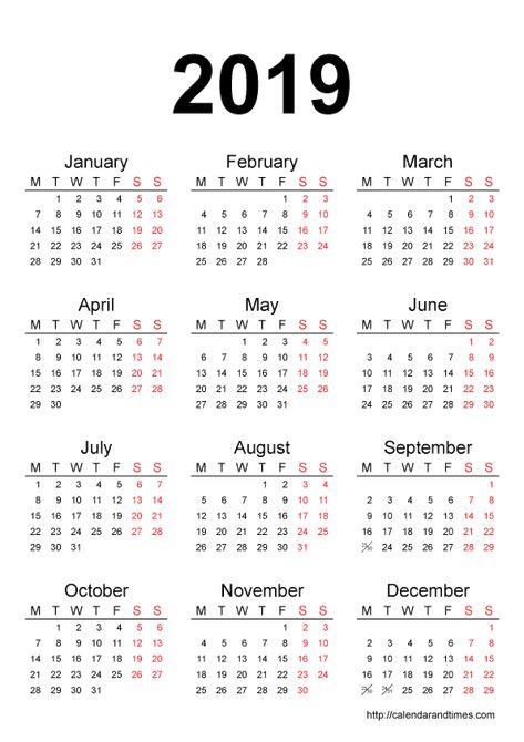 2019 Calendar One Page Calendar Printables Calendar Template