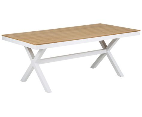 Gartentisch Cayo Cross Gestell Weiss Tischplatte Naturfarben