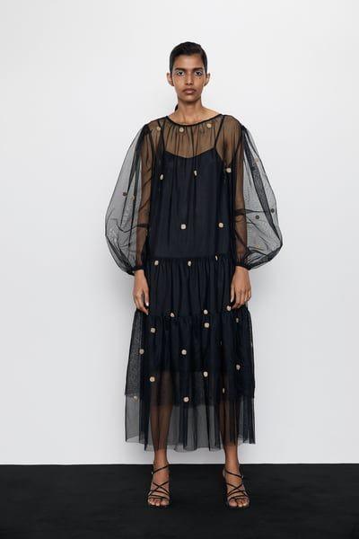 Zara Dan 1 Puantiyeli Tul Elbise Resmi Maxi Dress Winter Tulle Dress Party Dresses For Women