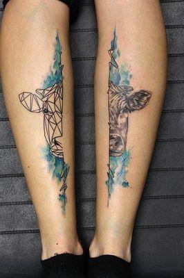 Vache Graphique Realiste Et Watercolor Tattoo Tatouage Couleur
