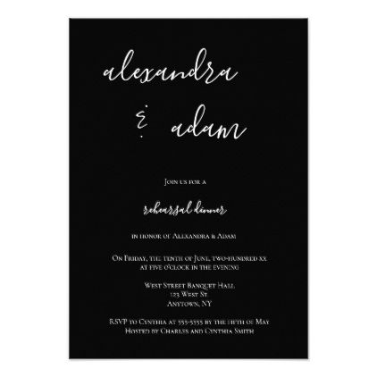 B W Modern Elegant Rehearsal Dinner Invitations Zazzle Com
