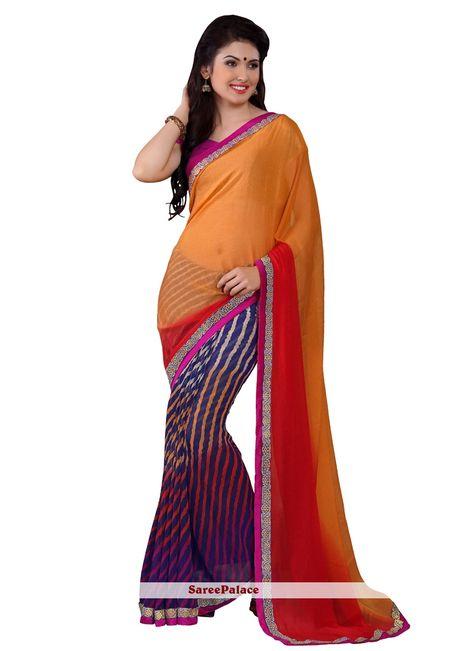 ab2af1e1f2f Lively Orange And Blue Half N Half Printed Saree