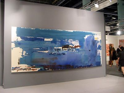 """""""Blue Reach"""" by Helen Frankenthaler. Installation view."""