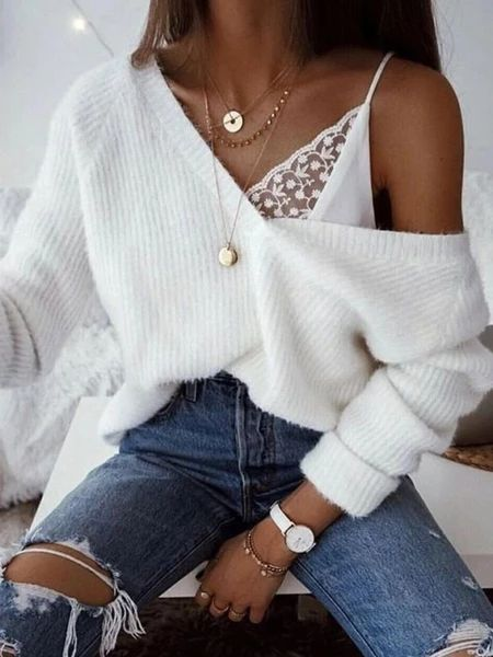 Casual V-Neck Solid Color Sweater – linenlooks  sweater knit,white knit,tunic sweater outfits,knitwear fashion  #sweaterknit #whiteknit #outfitsweater #sweateroutfitideas