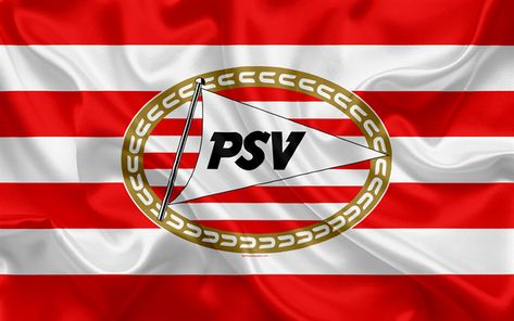 Download wallpapers PSV Eindhoven, 4K, Dutch football club, PSV logo, emblem, Eredivisie, Dutch soccer championship, Eindhoven, Netherlands, silk texture, PSV FC