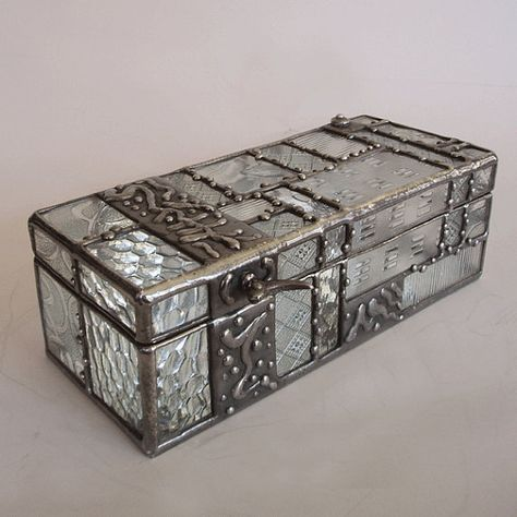 c2e3cebb24a0 Stained glass Jewelry box patchwork of clear patterned by minjean ...