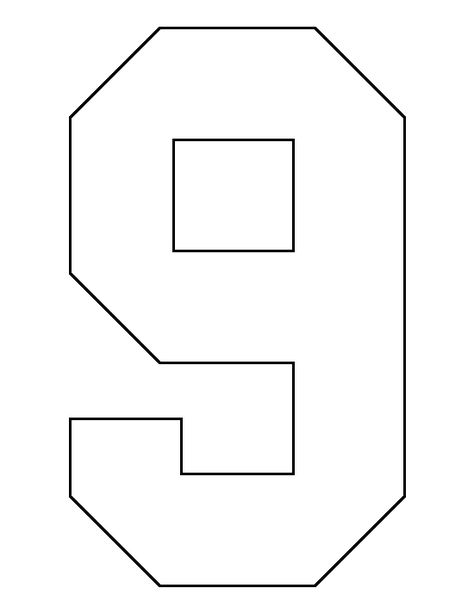 Number 9 pattern. Use the printable outline for crafts, creating stencils, scrapbooking, and more. Free PDF template to download and print at http://patternuniverse.com/download/number-9-pattern/