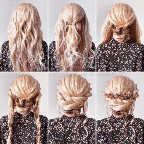 Hair by Melissa Oldridge Boho step by step tutorial for a special occasion or bridal look Bridal Hair Tutorial, Wedding Hairstyles Tutorial, Hair Updo Tutorial, Wedding Hair Tutorials, Updo Diy, Bridesmaid Hair Tutorial, Hair Tutorials For Medium Hair, Diy Wedding Hair, Wedding Hair And Makeup
