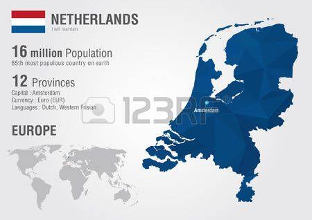 Paises Bajos Europa Mapa Con Un Modelo Del Diamante Pixel