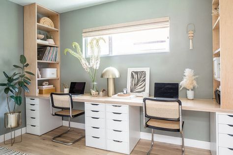 Guest Bedroom Home Office, Home Office Space, Home Office Decor, Bedroom Office Combo, Basement Home Office, Ikea Office, Home Decor, Modern Office Design, Contemporary Office