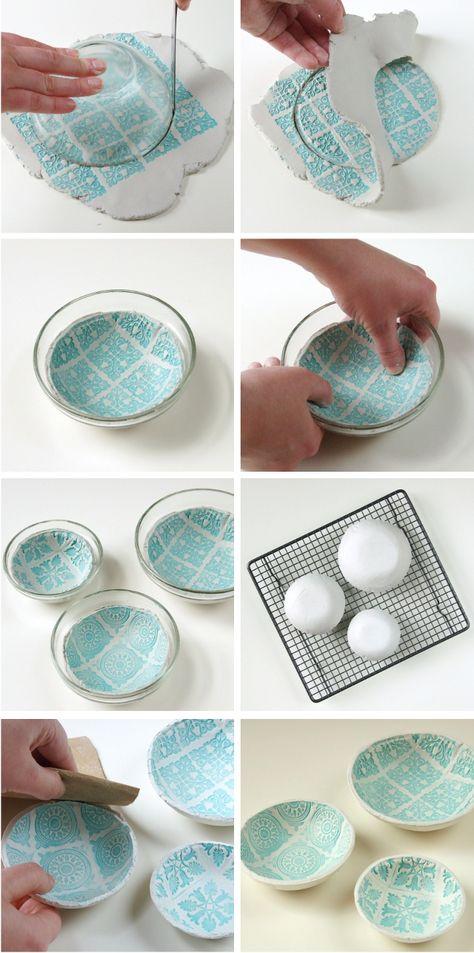 Step by step Diy Stamped Clay Bowls