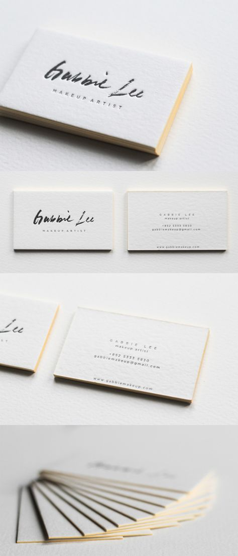 Neon Yellow Edge Painting And Beautiful Calligraphy On A Letterpress Business Card For A Makeup Artist