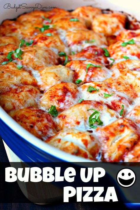 I'm trying this tonight ....Bubble Up Pizza Recipe (only 4 ingredients:  1 Roll of Pillsbury Grand Rolls 1 ( 14 oz) Jar of Pizza Sauce 2 Cups of Mozzarella Cheese ( Shredded) 8 – 12 Leaves of Fresh Basil ( chopped) ½ tsp of pepper  Bake at 350 degrees for 25 minutes!
