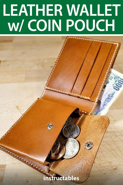 JourneyBackLeather made this leather wallet with coin pouch for a minimalist look with extra storage space. #Instructables #latherworking #fashion #sewing #accessory