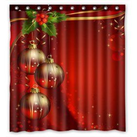 Greendecor Merry Christmas Snowflakes Waterproof Shower Curtain