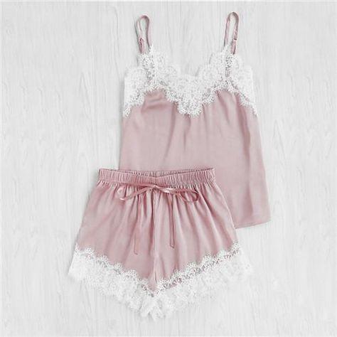 446205844f SHEIN Women Sleeping Wear Summer Sexy Pajama Sets Lace Trim Satin Spaghetti  Strap Cami Top and Shorts Pajama Set