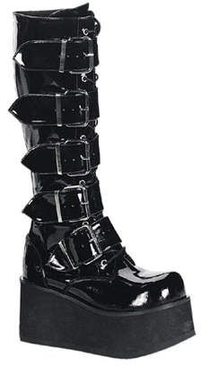Trashville 518 is a stylish gothic unisex style of knee high boots with full front laces and buckles and a 3 chunky platform available in black patent or black matte in sizes