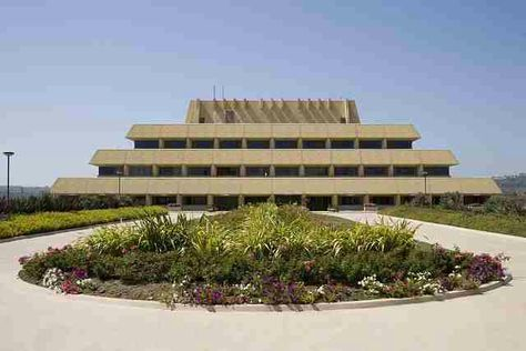 Chet Holifield Federal Building: The building has a remarkable stepped pyramid silhouette that is rare in American architecture. The unusual form references ziggurats, ancient Mesopotamian temples.