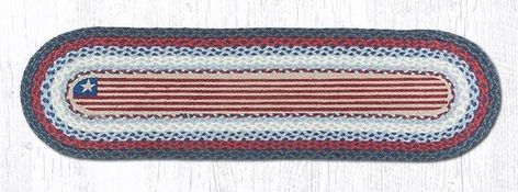 """Rustic Flag Braided Oval Table Runner Details: Made with 100% Organic Natural Jute Hand Stenciled Star Themed Design using Rich Colors Eco-Friendly and Naturally Biodegradable! Handwoven/Braided using the same Weaver's Art used for Centuries Sizes: 13"""" x 36"""" & 13"""" x 48"""" These Rustic Flag Braided Table Runners are available in two sizes and their inspired Rustic American Country Design brings warmth and comfort to any kitchen or room. The Burgundy Star design is hand-stenciled onto the 100% n"""
