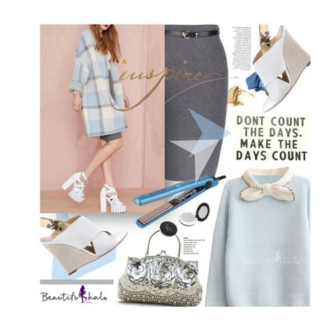 """""""Beautifulhalo.com: Don´t count the days. Make the days count."""" by hamaly ❤ liked on Polyvore featuring Bare Escentuals, CÉLINE, Anja, Revlon, ootd, fallstyle, woolcoat and waystowear"""